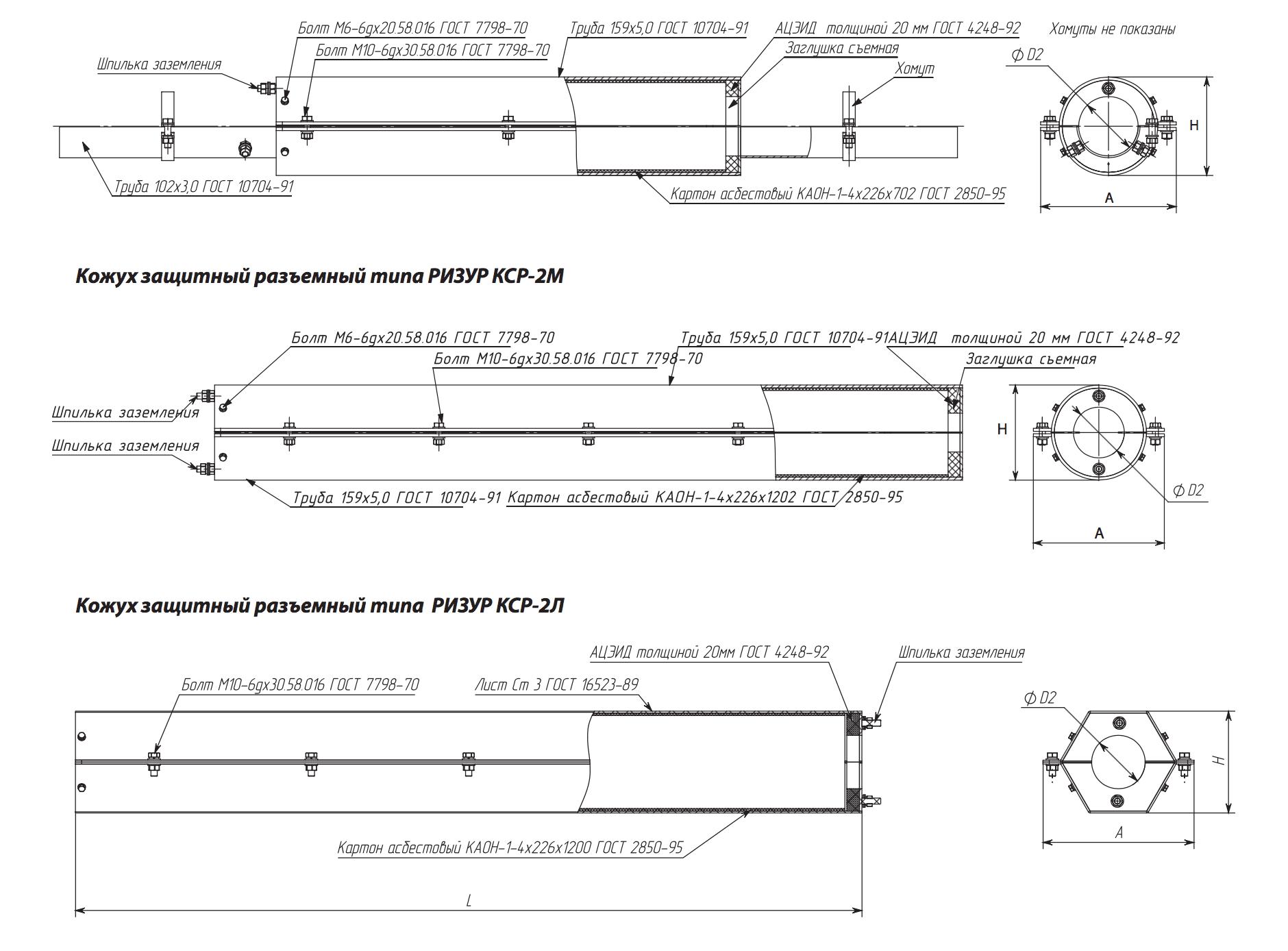 Кожух стальной защитный разъемный КСР, КСР-2У, КСР-2У2, КСР-1 РИЗУР