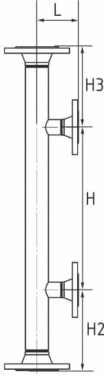 Размерный чертёж уровнемерной байпасной колонки