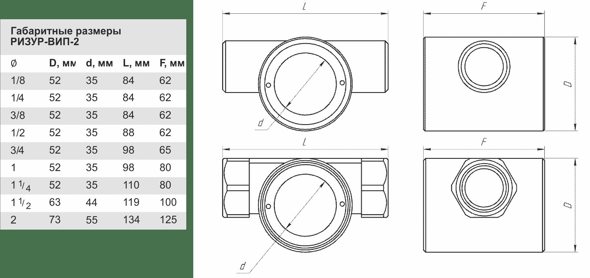 Габаритные размеры РИЗУР-ВИП-2
